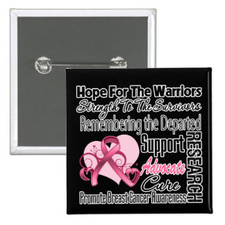 Breast Cancer Hope Tribute Collage Pinback Button