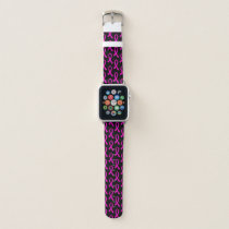 Breast Cancer Hot Pink Ribbon Pattern Apple Watch Band