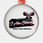 Breast Cancer I Am Strong Butterfly Ornaments