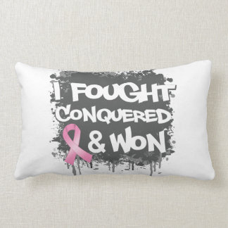 Breast Cancer I Fought Conquered Won Throw Pillow
