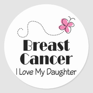 Breast Cancer I Love My Daughter Classic Round Sticker