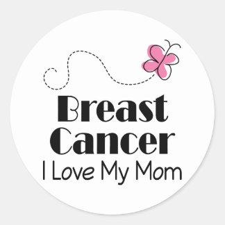 Breast Cancer I Love My Mom Classic Round Sticker