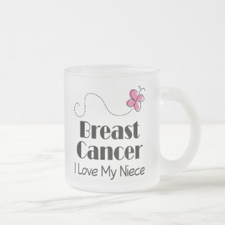 Breast Cancer I Love My Niece Frosted Glass Coffee Mug