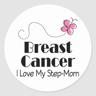 Breast Cancer I Love My Step Mom Classic Round Sticker
