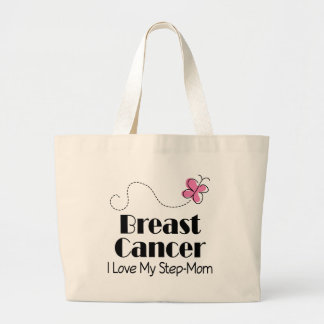 Breast Cancer I Love My Step Mom Large Tote Bag
