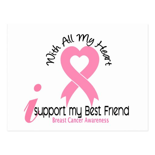 Breast Cancer I Support My Best Friend Postcard | Zazzle