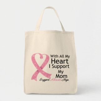Breast Cancer I Support My Mom With All My Heart Canvas Bags