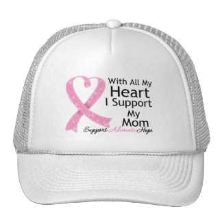 Breast Cancer I Support My Mom With All My Heart Mesh Hats