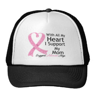 Breast Cancer I Support My Mom With All My Heart Mesh Hat
