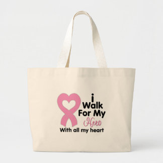 Breast Cancer I Walk For My Hero Canvas Bags