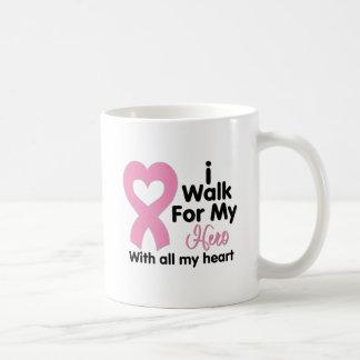 Breast Cancer I Walk For My Hero Coffee Mugs