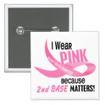 Breast Cancer I WEAR PINK FOR 2ND BASE 33.2 Pinback Button