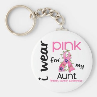 Breast Cancer I WEAR PINK FOR MY AUNT 43 Keychain
