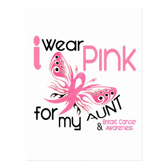 Breast Cancer I WEAR PINK FOR MY AUNT 45 Postcard