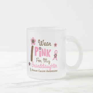 Breast Cancer I Wear Pink For My Granddaughter 12 Frosted Glass Coffee Mug