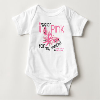 Breast Cancer I WEAR PINK FOR MY GRANDMA 45 Baby Bodysuit