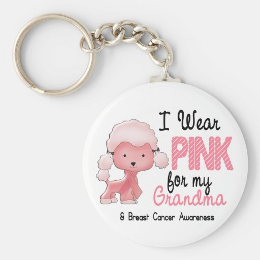 Breast Cancer I Wear Pink For My Grandma 47 Keychain
