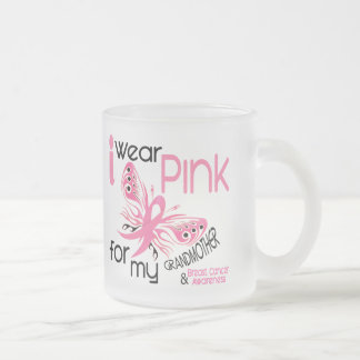 Breast Cancer I WEAR PINK FOR MY GRANDMOTHER 45 Frosted Glass Coffee Mug