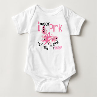 Breast Cancer I WEAR PINK FOR MY MOTHER 45 Baby Bodysuit