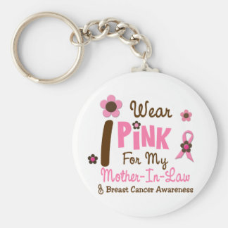 Breast Cancer I Wear Pink For My Mother-In-Law 12 Keychain