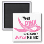 Breast Cancer I WEAR PINK FOR MY NIECE 33.2 2 Inch Square Magnet