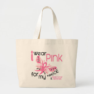 Breast Cancer I WEAR PINK FOR MY NIECE 45 Large Tote Bag