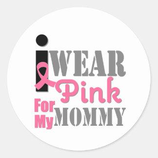Breast Cancer I Wear Pink Mommy Round Sticker
