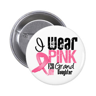 Breast Cancer I Wear Pink Ribbon For Granddaughter Pins