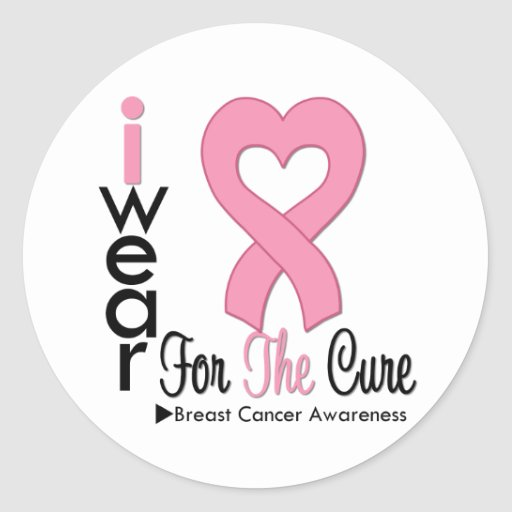 Breast Cancer I Wear Pink Ribbon For The Cure Stickers