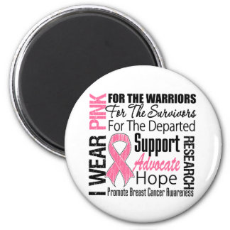 Breast Cancer I Wear Pink Ribbon TRIBUTE 2 Inch Round Magnet