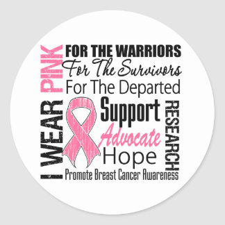 Breast Cancer I Wear Pink Ribbon TRIBUTE Classic Round Sticker