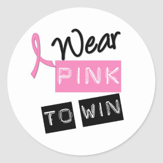 Breast Cancer I Wear Pink To Win Round Sticker