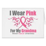 Breast Cancer I Wear Pink Tribal Ribbon (Grandma) Card