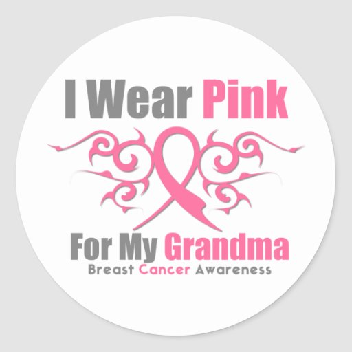 Breast Cancer I Wear Pink Tribal Ribbon (Grandma) Sticker