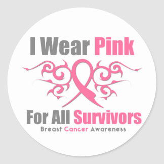 Breast Cancer I Wear Pink Tribal Ribbon Survivors Stickers