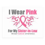 Breast Cancer I Wear Pink TribalRibbon SisterInLaw Postcard