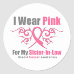 Breast Cancer I Wear Pink TribalRibbon SisterInLaw Stickers