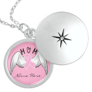 Breast Cancer In Memory of Mom Round Locket Necklace