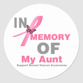 Breast Cancer In Memory of My Aunt Classic Round Sticker