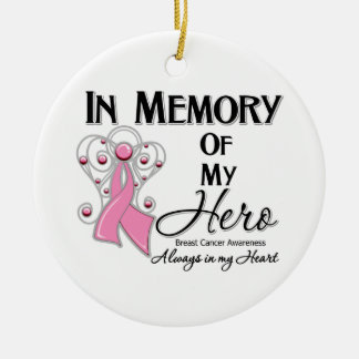 Breast Cancer In Memory of My Hero Christmas Tree Ornaments