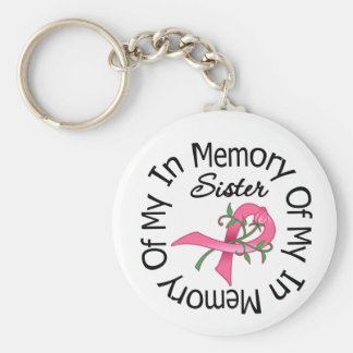 Breast Cancer In Memory of My Sister (Rose Ribbon) Keychains