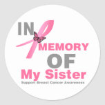 Breast Cancer In Memory of My Sister Classic Round Sticker