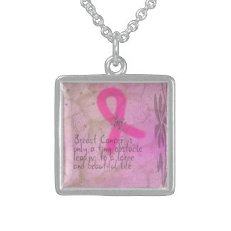 Breast Cancer is a Tiny Obstacle Square Pendant Necklace