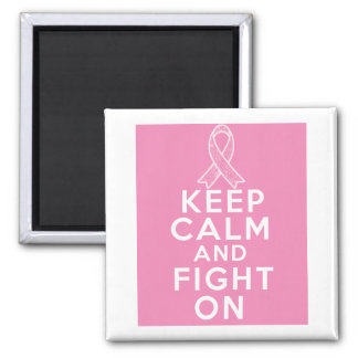Breast Cancer Keep Calm and Fight On 2 Inch Square Magnet