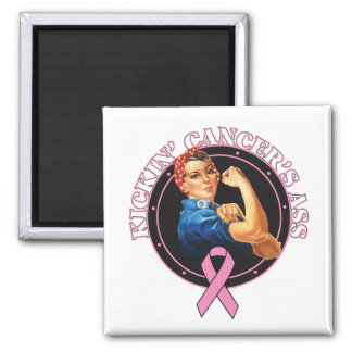 Breast Cancer Kickin Ass Rosie Style 2 Inch Square Magnet