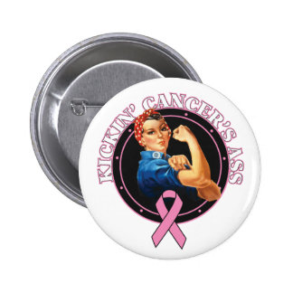 Breast Cancer Kickin Ass Rosie Style Pinback Button