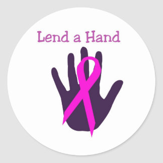 Breast Cancer - Lend a Hand Classic Round Sticker