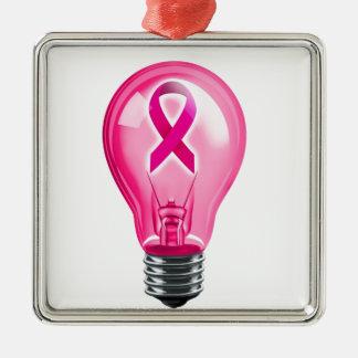 Breast Cancer Lightbulb Metal Ornament