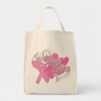 Breast Cancer Love Hope Cure Canvas Bags