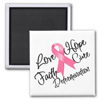 Breast Cancer Love Hope Determination 2 Inch Square Magnet